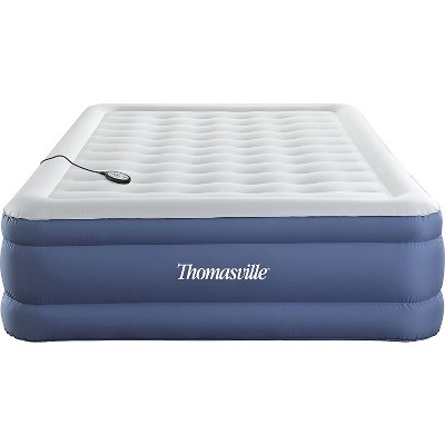 thomasville duratex puncture resistant flocked pillow top elevated inflatable air mattress with internal air pump and connected controller queen