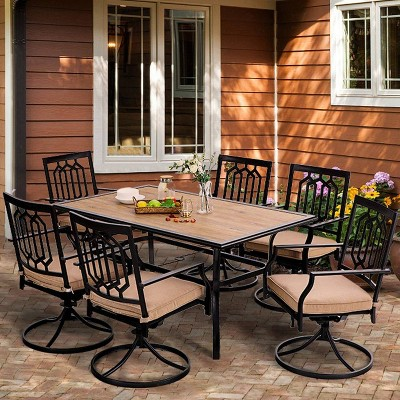 7pc patio dining set with rectangular faux wood table with umbrella hole swivel chairs captiva designs