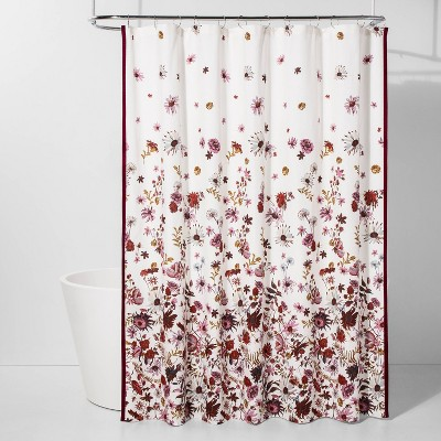 creeping floral shower curtain pink