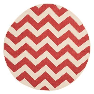6 7 round elvas outdoor patio rug red safavieh
