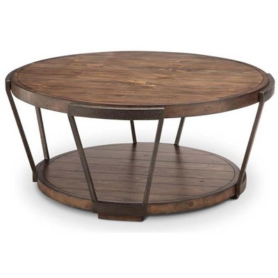 yukon round cocktail table w casters magnussen home furnishings