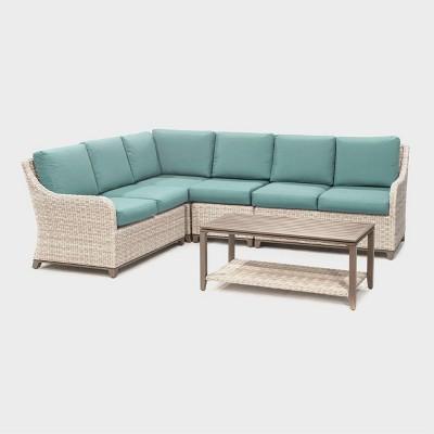hampton 5pc patio seating set spa blue leisure made