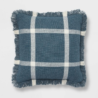 18 x18 woven plaid square throw pillow with fringe navy cream threshold