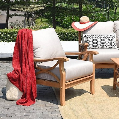 teak chester patio lounge chair with cushion beige natural teak cambridge casual
