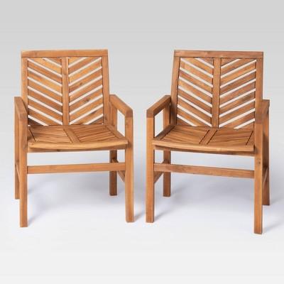 coro 2pk chevron slatted patio chairs brown saracina home