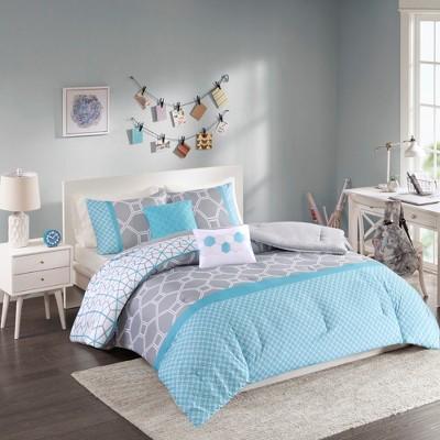 teal gray sarah comforter set twin twin xl 4pc