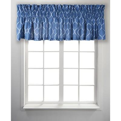 ellis curtain trellis unlined stylish window tailored valance 85 x 12 blue