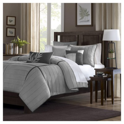 gray landcaster microsuede pleated comforter set full 7pc