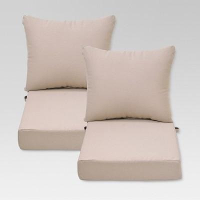 ft walton 4pc outdoor deep seating chair back seat cushion set tan threshold