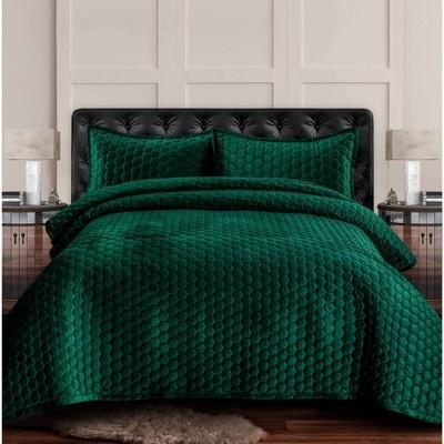 3pc queen lugano honeycomb velvet oversized solid quilt set emerald green tribeca living