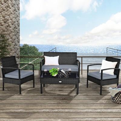 costway 4pcs outdoor patio rattan furniture set cushioned sofa coffee table garden deck