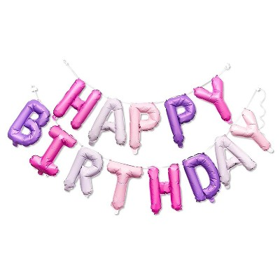 Sparkle And Bash Happy Birthday Foil Balloons Party Banner Purple And Pink 16 Inch Target