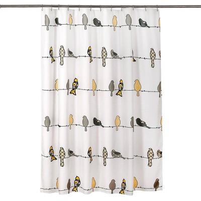 bird shower curtain yellow gray lush decor