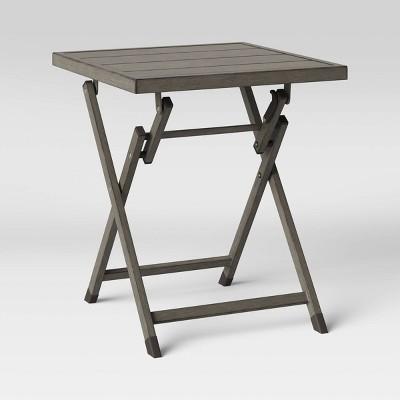 weathered teak folding patio accent table threshold
