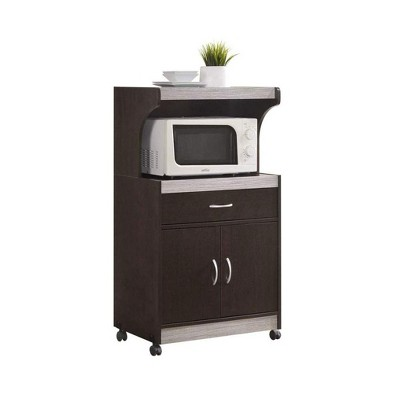 hodedah wheeled kitchen island microwave cart with pull out drawer and cabinet storage chocolate grey
