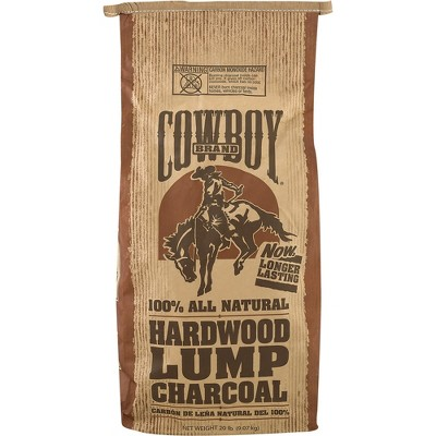 cowboy easy light natural hardwood lump bbq charcoal briquettes for grilling and smoking 20 pound bag