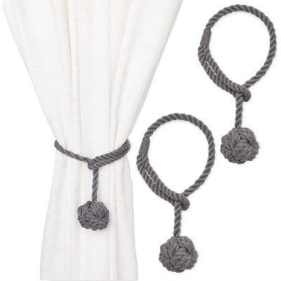 2 pack grey cotton window curtain tiebacks tie back 20 holdbacks rope for drapes