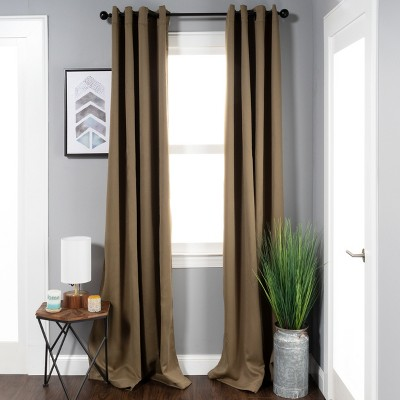 thermal insulated solid blackout curtain panel set with grommet topper 52 x 108 olive green blue nile mills
