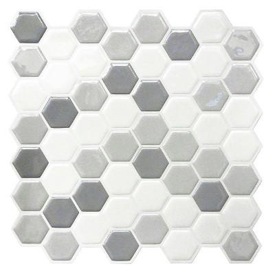 roommates gray hexagon tile peel and stick backsplash