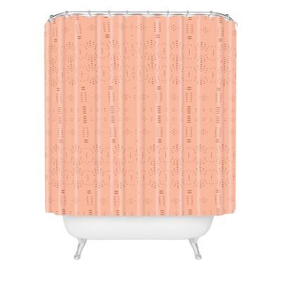 grace saona pattern pastel shower curtain orange deny designs