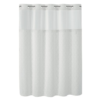 mosaic embroidery shower curtain with peva liner white hookless