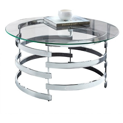 tayside cocktail table glass and chrome steve silver