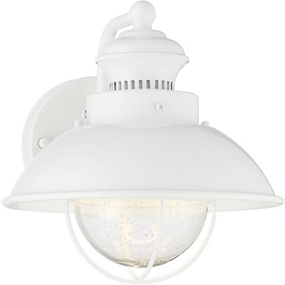 john timberland industrial farmhouse outdoor barn light fixture led white 8 1 4 seeded glass for exterior house porch patio deck