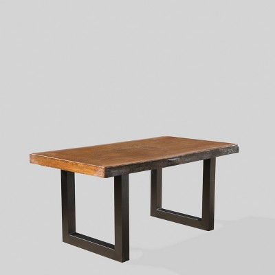 caldwell concrete rectangle faux live edge patio dining table teak christopher knight home