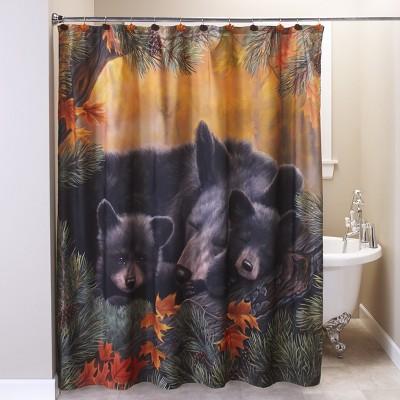 lakeside cozy bears shower curtain decorative bath accessory with animal theme
