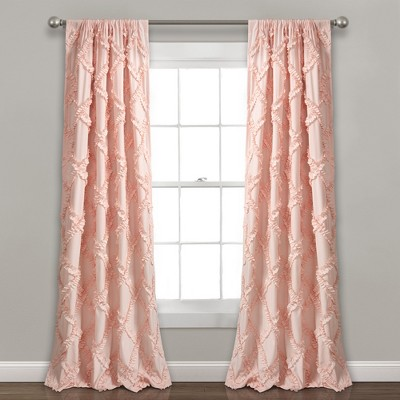 set of 2 84 x54 ruffle diamond light filtering window curtain panels blush pink lush decor