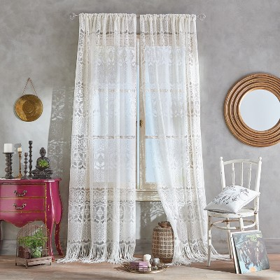 84 x50 boho lace poletop curtain panel ivory chf industries