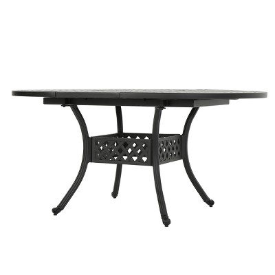 stock island round aluminum expandable dining table black sand christopher knight home