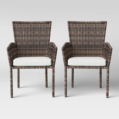 monroe 2pk patio stack dining chair linen threshold