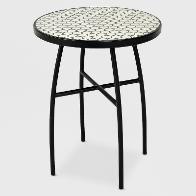 mosaic honeycomb indoor outdoor accent table black off white threshold