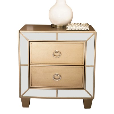 claudine mirrored 2 drawer nightstand champagne gold abbyson living