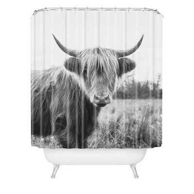 chelsea victoria highland cow shower curtain black white deny designs