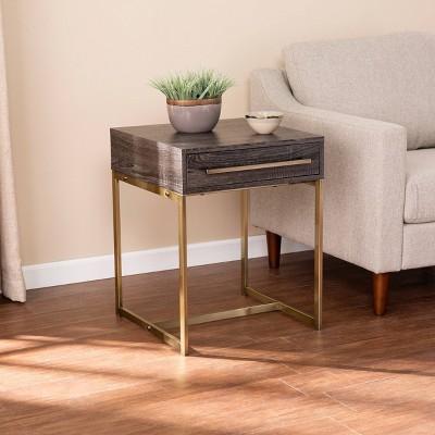 frondi square end table black oak antique brass aiden lane