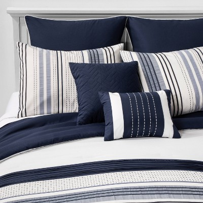 full allen stripe comforter set navy hallmart collectibles