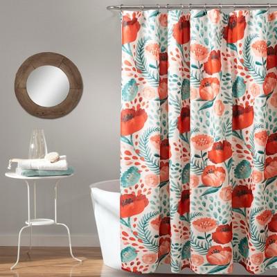 poppy garden shower curtain red green lush decor
