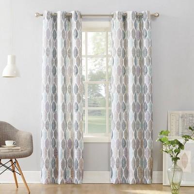 84 x40 hotaru leaf print semi sheer grommet curtain panel white no 918