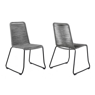 2pk shasta outdoor metal and gray rope stackable dining chair armen living