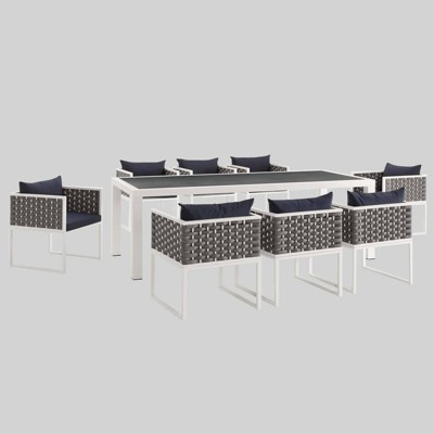 stance 9pc outdoor patio aluminum dining set white navy modway