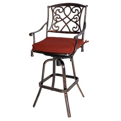 outdoor counter height cast aluminum swivel bar stool with sunbrella cushion red crestlive products