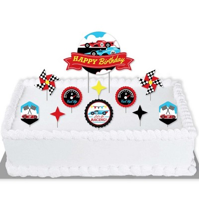 Big Dot Of Happiness Let S Go Racing Racecar Race Car Birthday Party Cake Decorating Kit Happy Birthday Cake Topper Set 11 Pieces Target