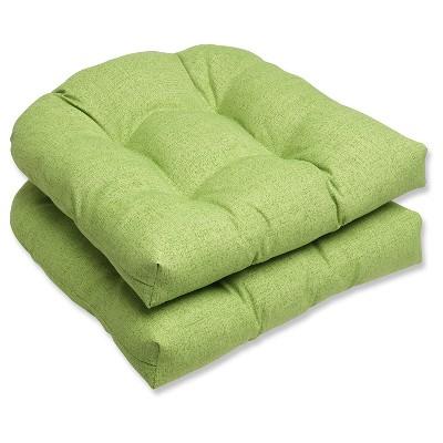 outdoor 2 piece wicker chair cushion set green