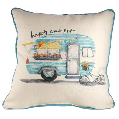 home decor 17 0 happy camper pillow vintage bike blue piping decorative pillow