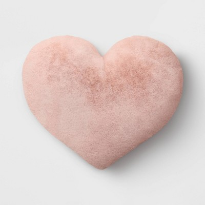 oversized faux fur valentine s day heart pillow blush opalhouse