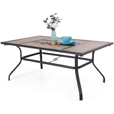 6 person rectangle patio dining table with steel frame umbrella hole captiva designs