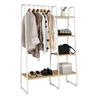 cosway metal garment rack free standing closet organizer w 5 shelves hanging bar