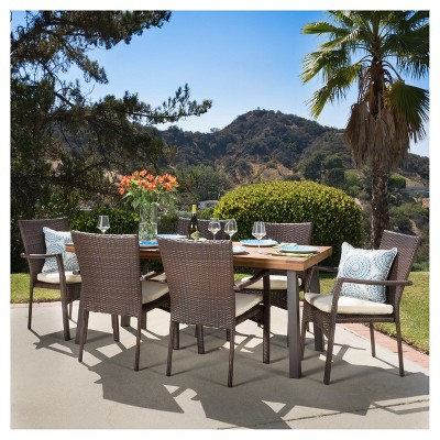 cordella 7pc rectangle all weather wicker wood patio dining set brown natural christopher knight home